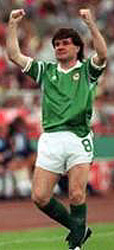 Ray Houghton playing football for  Ireland