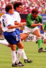 Ray Houghton scores against Italy at the 1994 World Cup
