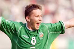 Matt Holland celebrating scoring a goal for Ireland